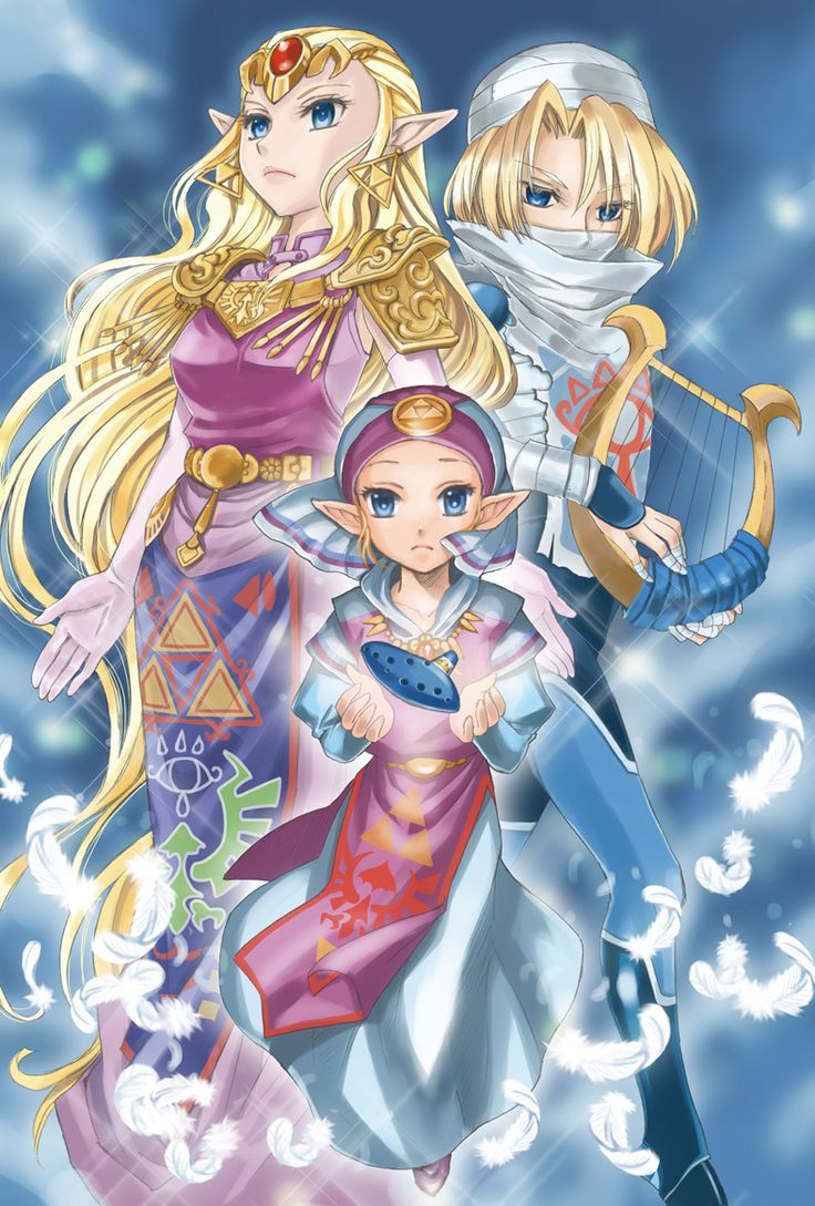 """Princess Zelda is my favorite video game heroine ever (Link would be best hero)!  Here are all of her forms from """"Ocarina of Time""""."""