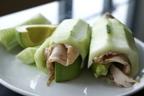 Cucumber, Turkey and Avocado Roll - I love how the cucumber is the wrapper.