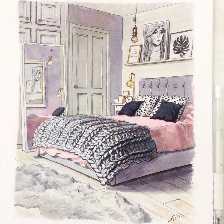 Развлекалась в больничке  #рисунок #спальня #розовый #арт #копики #sketch #sketching #interior #interiorsketch #interiorsketching #art #art_instablog #скетч #скетчинг #copic #pink #bed #bedroom #interiordesign #interior #pinkinterior