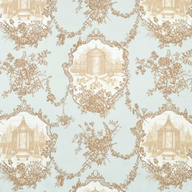 21 Best Toile Wall Paper Images On Pinterest: Braemore Garden Toile Aqua Fabric