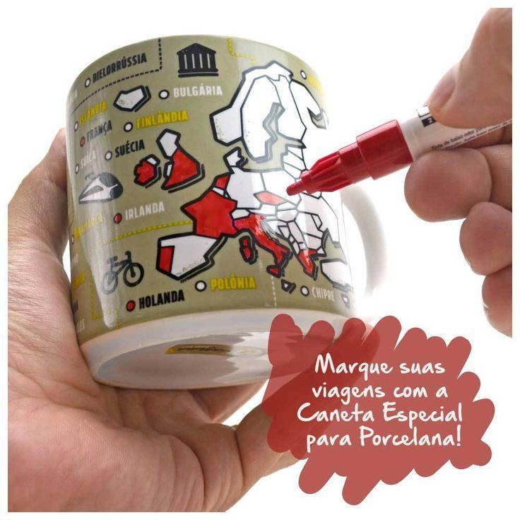 Caneca para colorir Eurotrip. Caneca Eurotrip para Colorir + Caneta Especial para Porcelana CAN003A