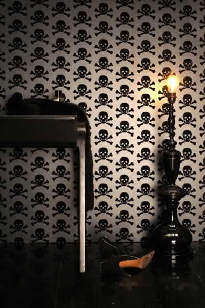 Beware the Moon - Skulls Wallpaper - Black on Gun Metal