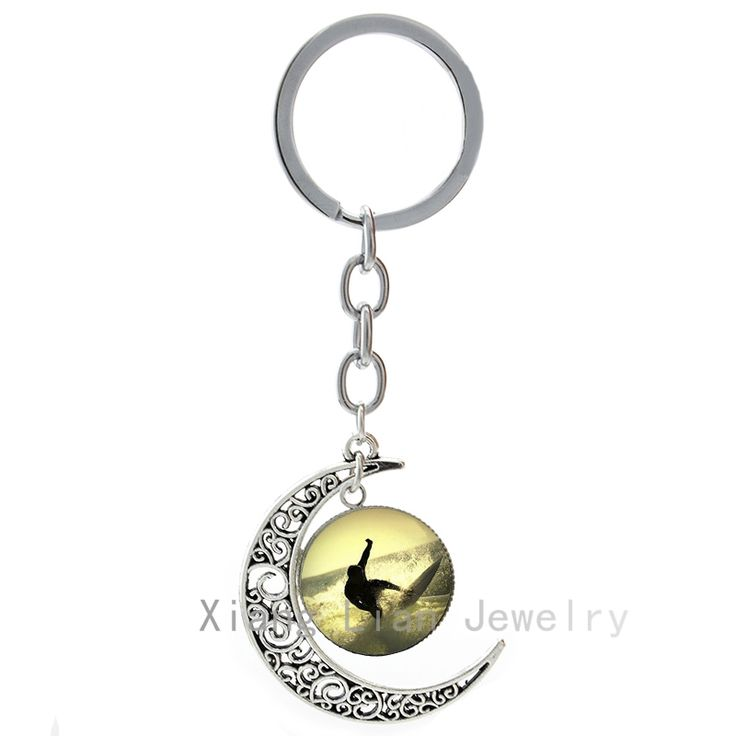 Trendy exciting sport Surfing keychain vintage reat Wave & Brave Surfers image cool men moon pendant key chain jewelry T617 #Affiliate