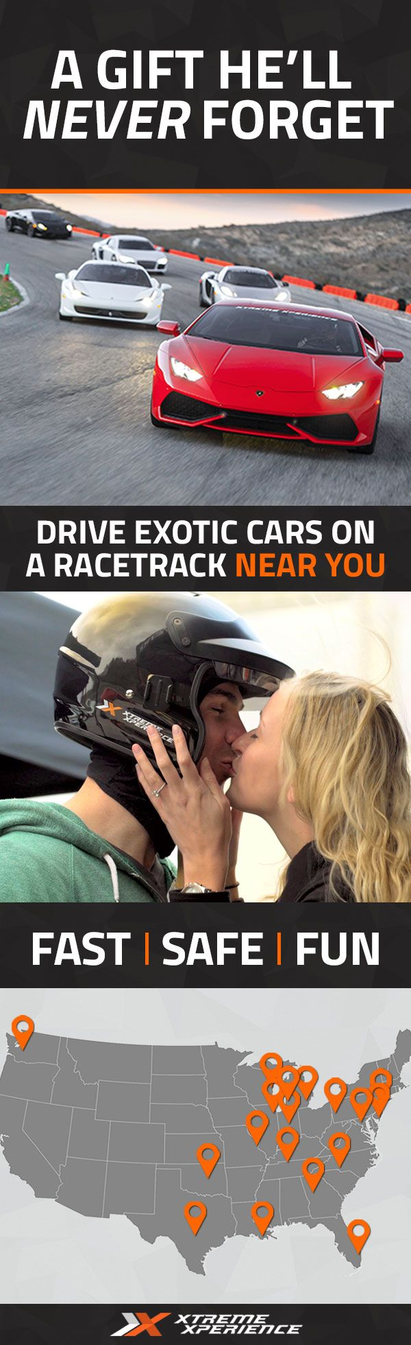 It's never been easier to give a gift to the guy who has everything. Driving a Ferrari, Lamborghini, Porsche or other exotic sports car on a racetrack is a unique gift idea that is guaranteed to leave a smile on his face, a good story to tell, and a life-long memory. Xtreme Xperience brings the thrill of a lifetime to a racetrack near you. Reserve your SupercarTrack Xperience today. Space is limited!