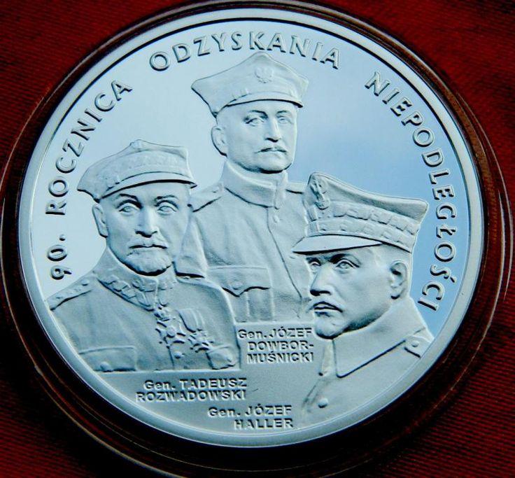20 злотых 90 лет независимости СЕРЕБРО Польша ПРУФ