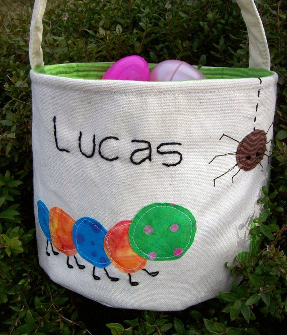 The 25 best personalized easter baskets ideas on pinterest easter basket in canvas fabric spring backyard by alittlefrayed 3000 negle Choice Image