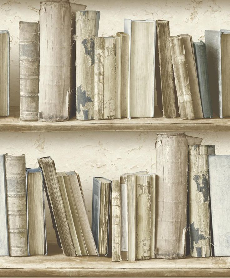 Albany Vintage Bookcase Neutral Blue Wallpaper main image