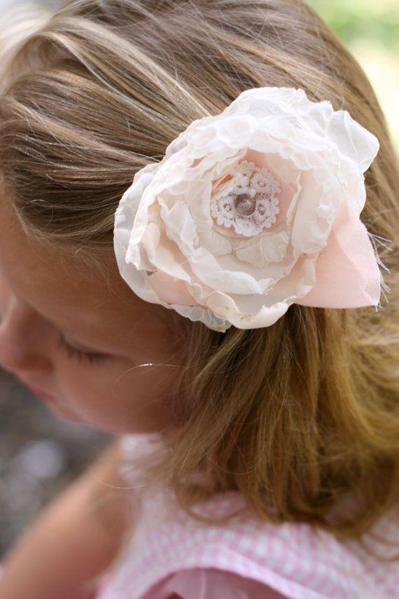 wedding flower girl hair piece clip ivory by sunshowerflowers #weddinghair #wedding #weddingdecor #upcycled #vintage #shabbychic #flowergirl #flower