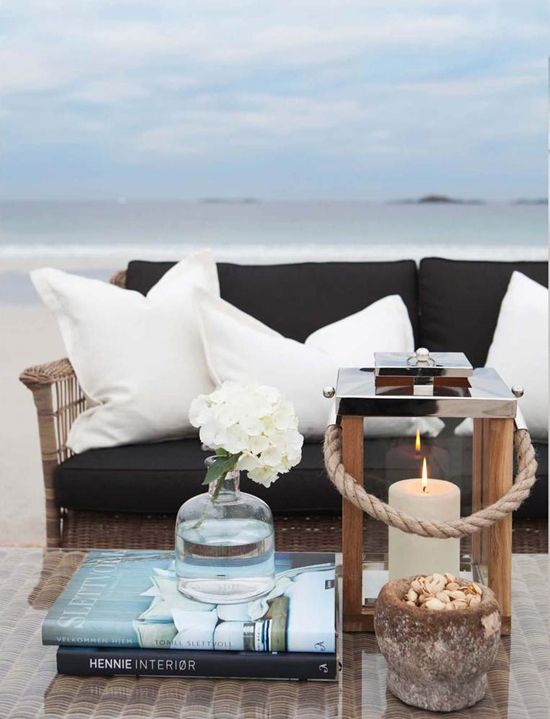I've got the candle lamp, the furniture and the  pillows...all I'm missing is the ocean!
