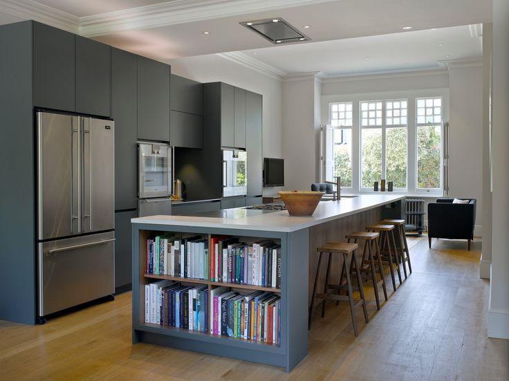 Open Shelves Kitchen Kitchen Transitional with blue kitchen bespoke island