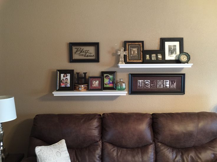 Floating shelves above the couch. – #abovecouch #c…