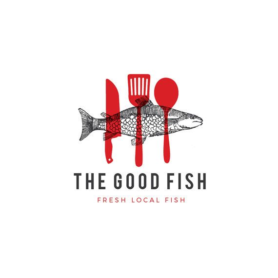 Premade logo, premade restaurant logo, Seafood logo, customizable logo, artisinal logo, fish logo, professional logo, logo design, etsy logo
