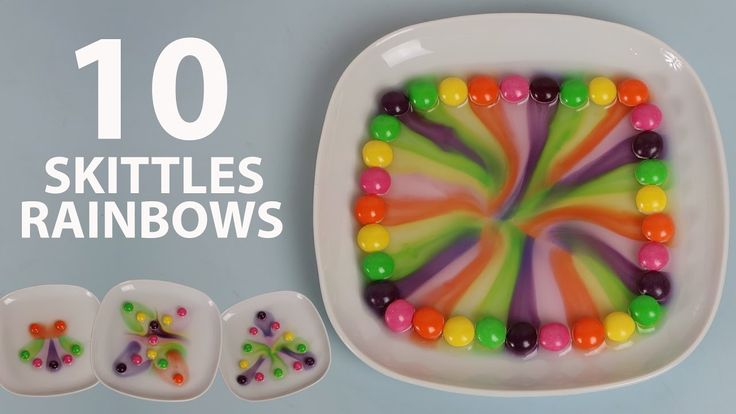 BEST 10 SKITTLES RAINBOWS! Skittles and water experiment for kids. DIY s...