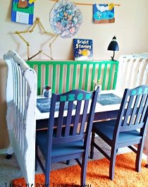 Awesome #repurpose for a crib - the kids will love this double blackboard desk!