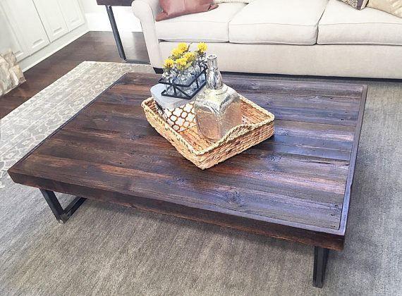 Reclaimed Wood Dark Walnut Stain Coffee Table, Tube Steel Legs - Free Shipping