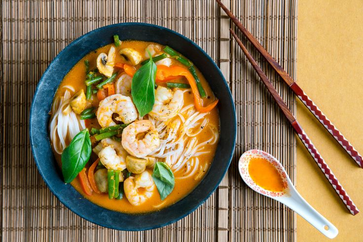 Photo for the dish: Asiatisches Garnelen-Laksa mit Reisbandnudeln