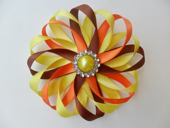 Fall Hair Bow - Autumn Hair Clip -  Thanksgiving Hair Bow - Flower Hair Bow - Girl Hair Accessory - Brown Orange Yellow and Red Hair Clip