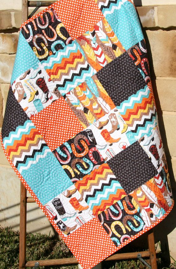 Western Boy Quilt, Baby Luckie by Blend Fabrics, Horseshoes Feathers Boots, Modern Nursery Blanket, Turquoise Orange Dark Brown, Cowboy by SunnysideDesigns2