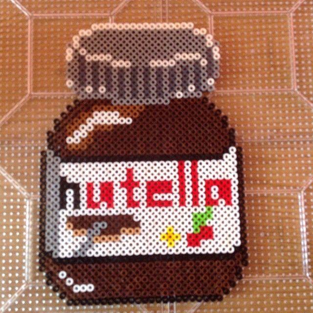 Nutella jar hama perler beads by Perler Bead Queen