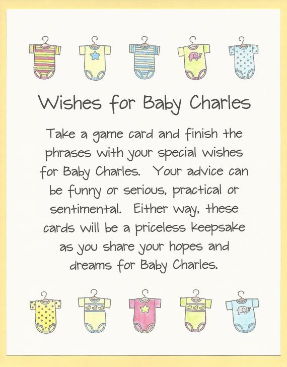 Baby Shower Game Wishes for Baby Fun and Easy by CardsByKooper