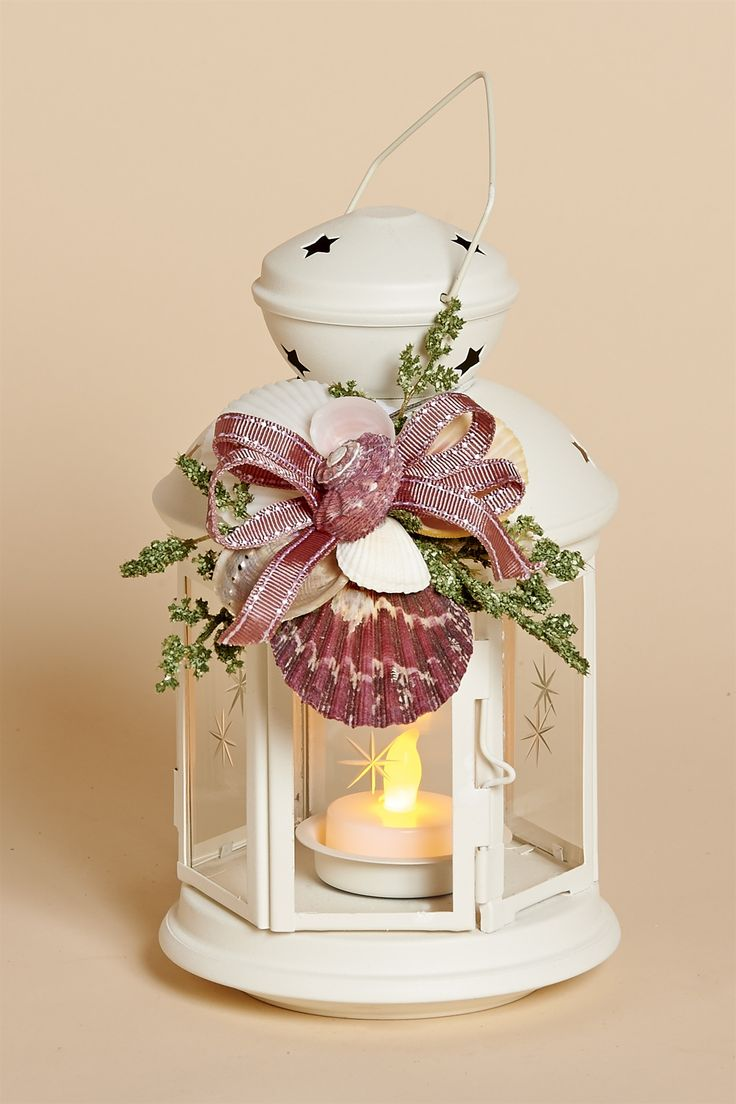 """8"""""""" White Metal Lantern with Pink Moon Shell Removable Collar & Battery Tea Light"""