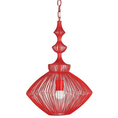 Peak Collection 3-Light Red and Nickel Pendant