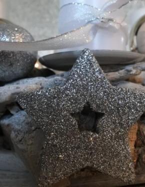 Winter Weihnachten Adventskranz Kerze weiß silber 30cm