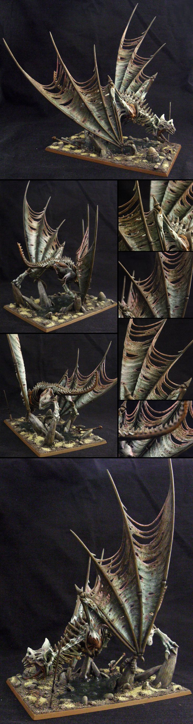 Terrorgheist miniature painted for Warhammer Fantasy Battle, or Age of Sigmar if need be. Giant undead dragon-sized bat. I gave it some simple swamp basing. In AoS it would belong to the Flesh-Eater Courts, Death Grand Alliance.