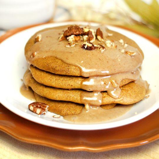 Pumpkin, almond butter pancakes