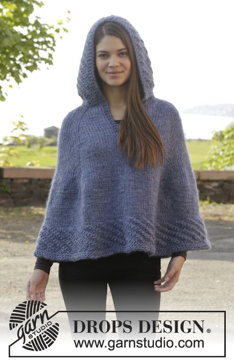 """Knitted DROPS poncho with hood and vent, worked top down in """"Eskimo"""". Size S-XXXL. ~ DROPS Design"""