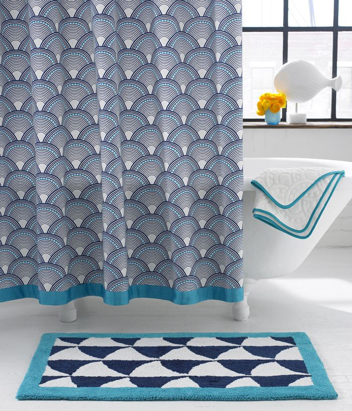 Fish scale shower curtain jonathan adler interior for Fish bath rug