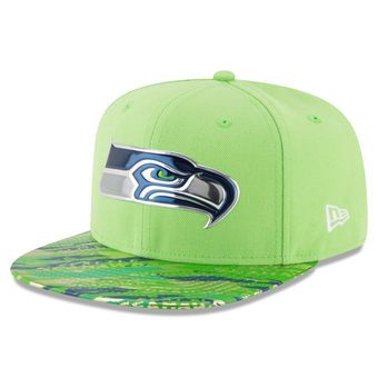 Men's New Era Neon Green Seattle Seahawks Color Rush On Field Original Fit 9FIFTY Snapback Adjustable Hat