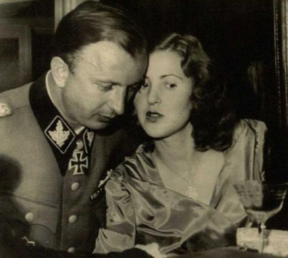 Eva Braun with her brother-in-law Hermann Fegelein at his wedding to Eva's sister Gretl, Berghof, June 3, 1944, by Hoffman.
