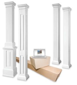 Tapered columns non tapered fiberglass columns exterior for Fiberglass interior columns
