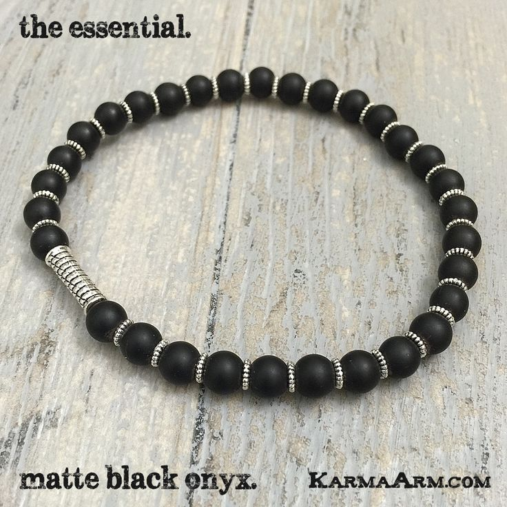 Every stack needs certain key stones to help manifest your goals... MANTRA: I draw strength from my past experiences. - 6mm Matte Black Onyx Round Natural Gemstones - Tibetan Silver Rope Rondelles - C