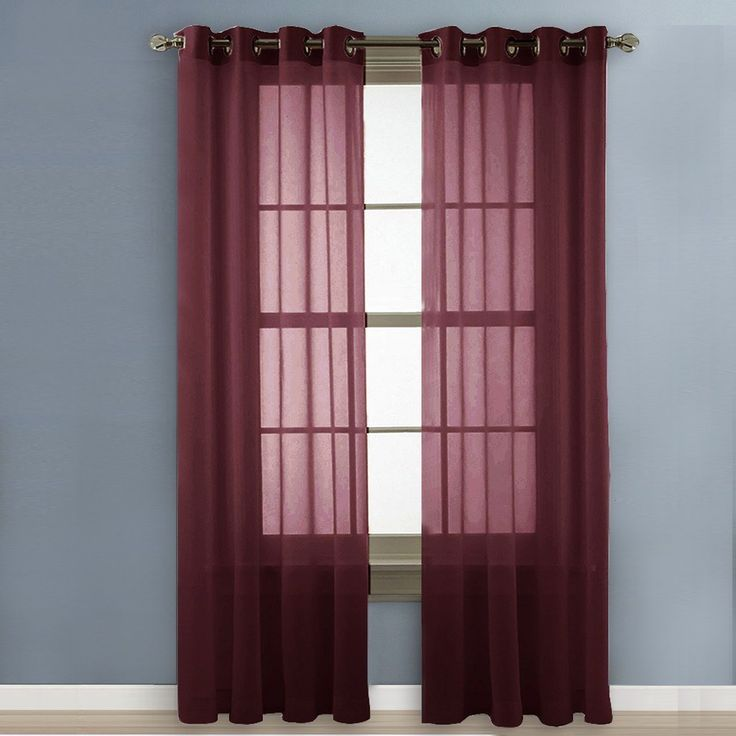 Nicetown Sheer Curtains Voile Curtains - Elegant Pair of Drapes / Panels for Villa, Perlor, Hall 2 Pack, W54 x L84 inches,Burgundy-Wine