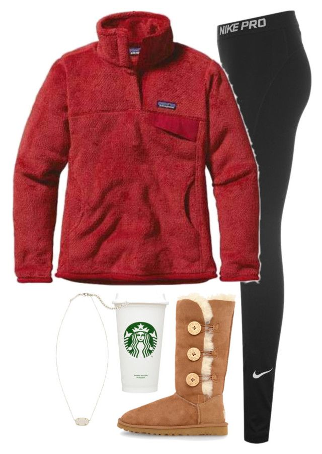 """""""white girls be like """" by conleighh ❤ liked on Polyvore featuring NIKE, Patagonia, UGG Australia and Kendra Scott"""