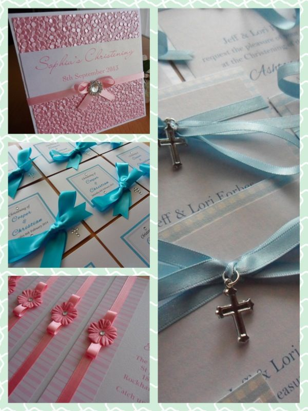 Some designs of Christening invitations available for girls and boys  www.facebook.com/mostinvitingbykristie