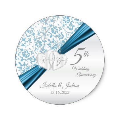 5th Blue Wedding Anniversary Design Classic Round Sticker - anniversary cyo diy gift idea presents party celebration