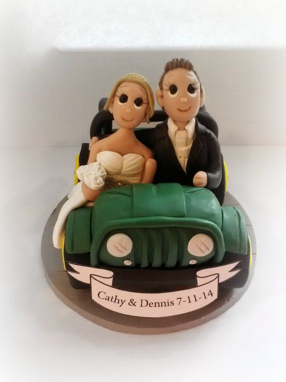 Custom Jeep Wedding Cake Topper with Banner by KadoodlesCreation