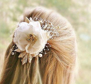 Nuziale capelli fiore matrimonio testa pezzo di FancieStrands, $85.00