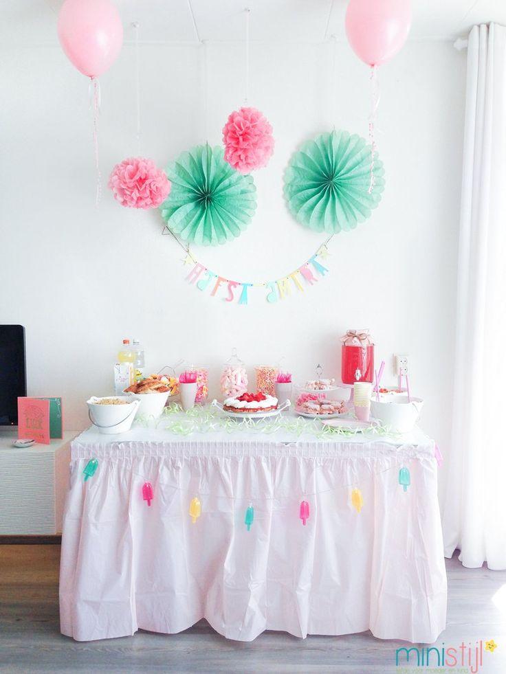 Tandenfeest of babyshower versiering   roze - ministijl