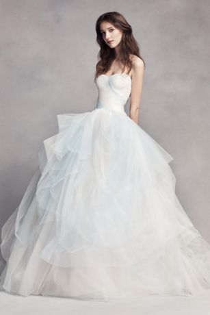 For the bride who wants to wear a touch of color. The exclusive ombre tulle on this sweetheart ball gown wedding dress is inspired by the pearls found inside conch shells. Hand-draping adds gorgeous texture to this gown. White by Vera Wang, exclusively at David's Bridal Polyester Chapel train Back zipper; fully lined Dry clean Imported Also available in extra length