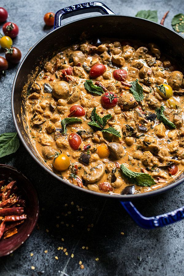 Almond Chicken, Chickpea, and Eggplant Curry Indian Chicken Recipes | POPSUGAR Food