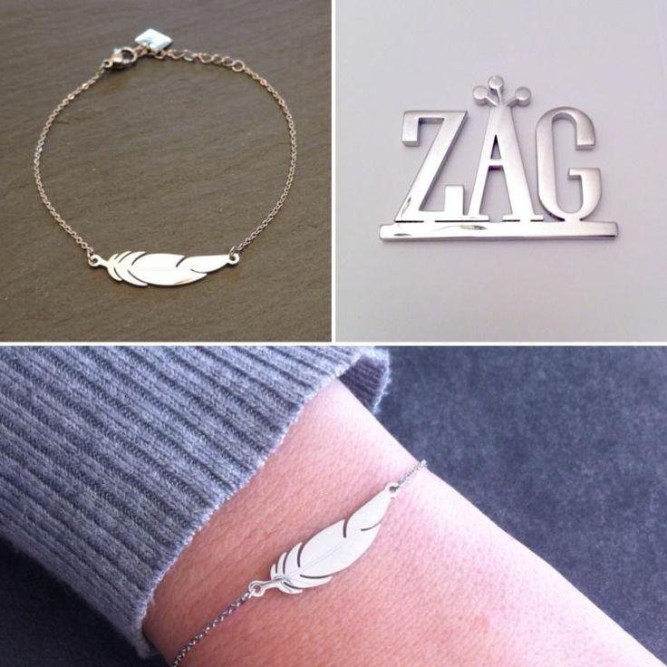 Bracelet  plume acier blanc Zag Bijoux - 16,99€