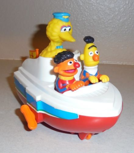 Tyco-Preschool-Plastic-80-039-s-Wind-Up-Boat-Toy-Bert-Ernie-Big-Bird-z2