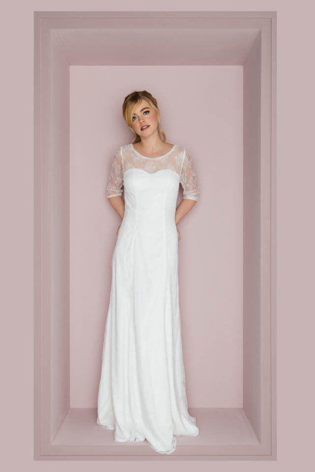 Unser Vintage Brautkleid Mit 3 4 Arm Uberzeugt Durch Transparente