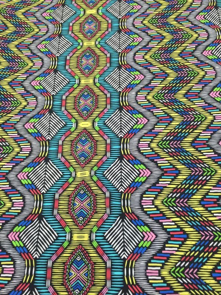 Aztek design  Milticolored on 4 way stretch fabric sold by the yard #Aztekdesign
