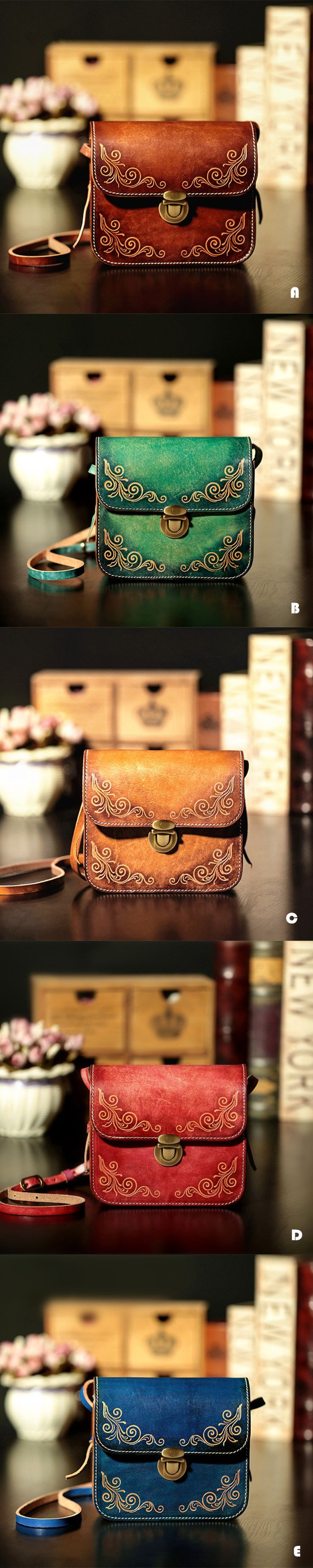 Vegetable Tanned Carving Handmade Leather Satchel