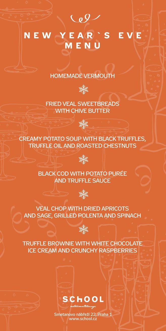 School New Year's Eve menu 2013